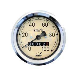 Tacho D=60mm Tachometer IWL Berliner Roller - mit Beleuchtung, Haltklammer und Plastikmutter