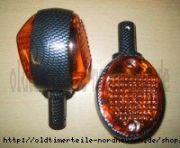 Lenkerblinkleuchte, Blinker Carbonlook+oranges Glas (incl. 6V Soffitte)