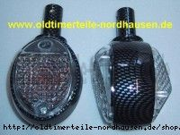 Lenkerblinkleuchte, Blinker Carbonlook+weisses Glas (incl. 6V orange Soffitte)