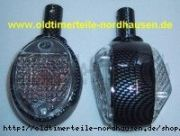 Lenkerblinkleuchte, Blinker Carbonlook+weisses Glas (incl. 6V orange Soffitte)