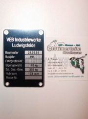 Typenschild IWL Pitty (Aluminium) Plakette