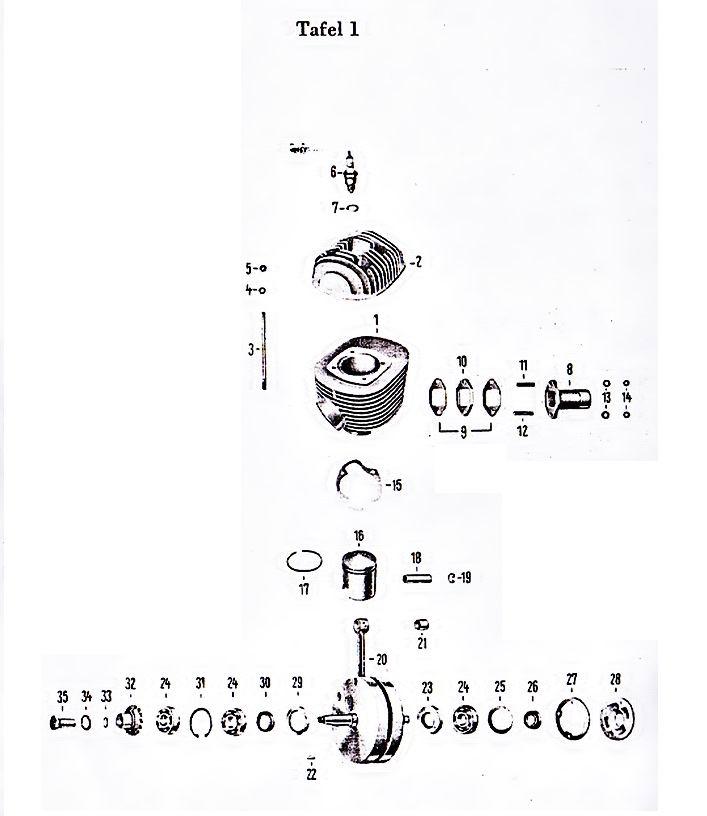 17 Zylinder Kolben Kurbelwelle Oldtimerteile
